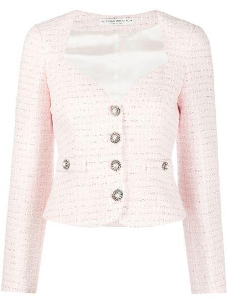 Ватная белая длинная куртка с карманами Alessandra Rich