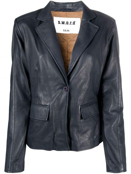 Синий кожаный классический пиджак с карманами S.w.o.r.d 6.6.44
