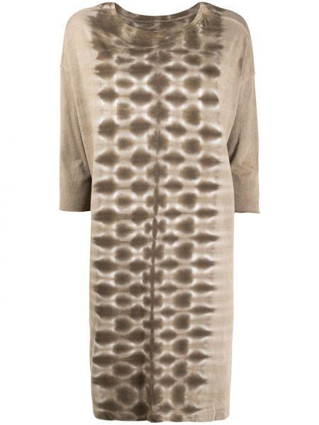 Серое платье миди с вырезом с длинными рукавами круглое Raquel Allegra
