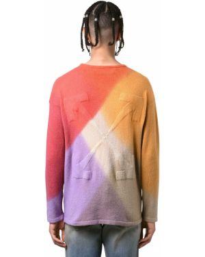 Хлопковый оранжевый свитер с воротником Off-white