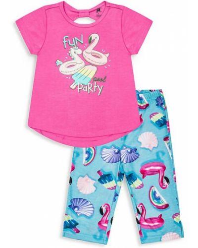 Różowa piżama krótki rękaw z printem Petit Lem