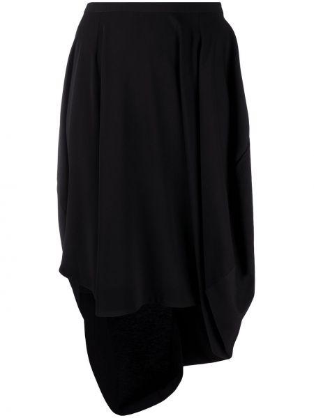 Czarny z wysokim stanem asymetryczny spódnica mini z falbankami Mm6 Maison Margiela