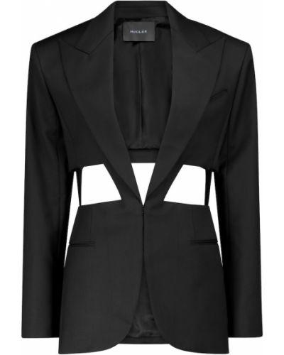 Шерстяной черный пиджак с вырезом Mugler