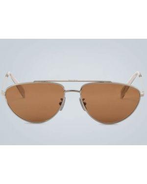 Солнцезащитные очки металлические - коричневые Celine Eyewear