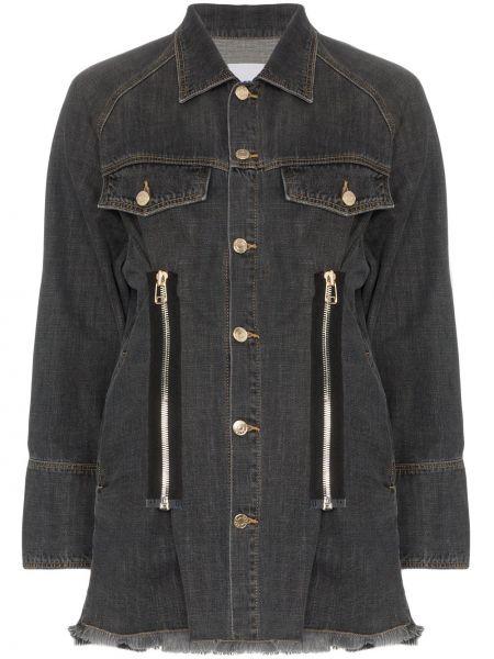 Черная джинсовая куртка на молнии с манжетами Sjyp