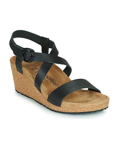 Czarne sandały z klamrą Papillio