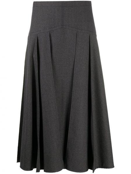 Шерстяная серая расклешенная юбка миди на молнии Odeeh
