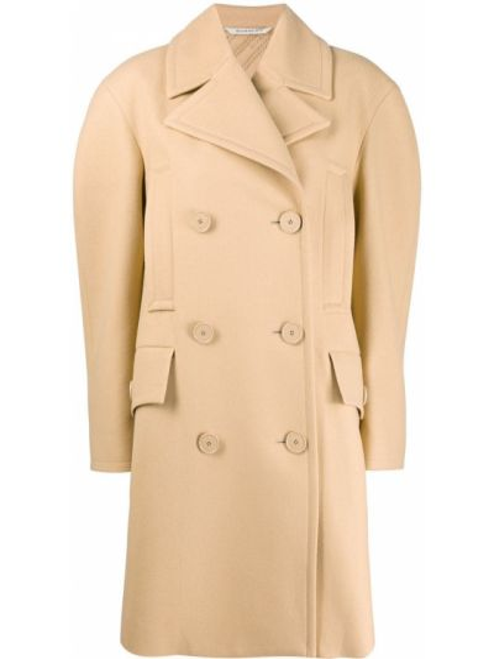 Коричневое шерстяное длинное пальто двубортное Givenchy