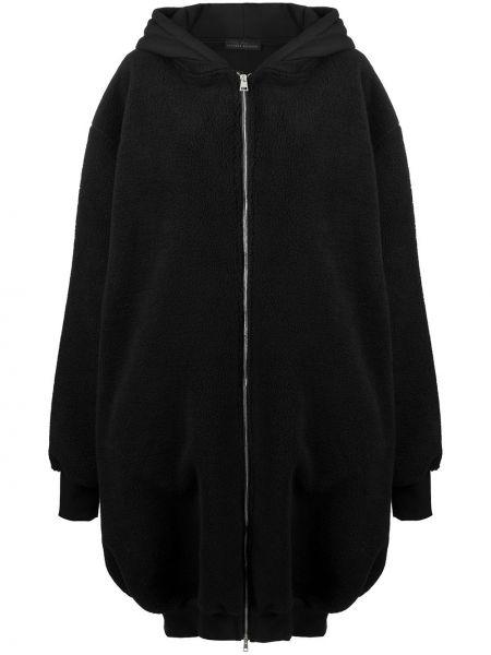 Свободное черное длинное пальто с капюшоном Barbara Bologna