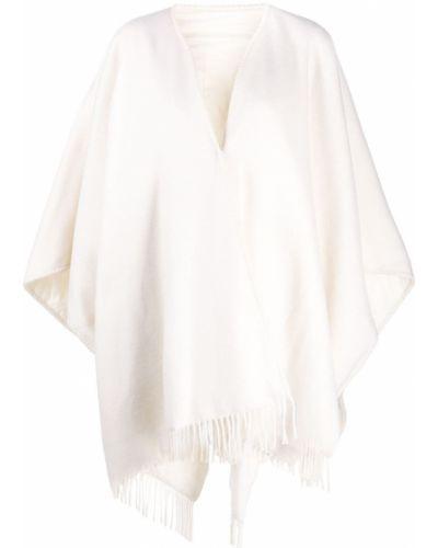 Белое шерстяное пончо оверсайз Fabiana Filippi