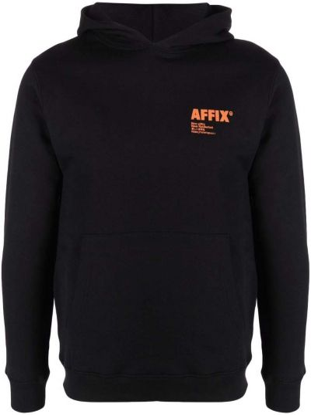 Czarna bluza długa z kapturem z długimi rękawami Affix