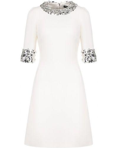 Платье с пайетками приталенное льняное Dolce & Gabbana