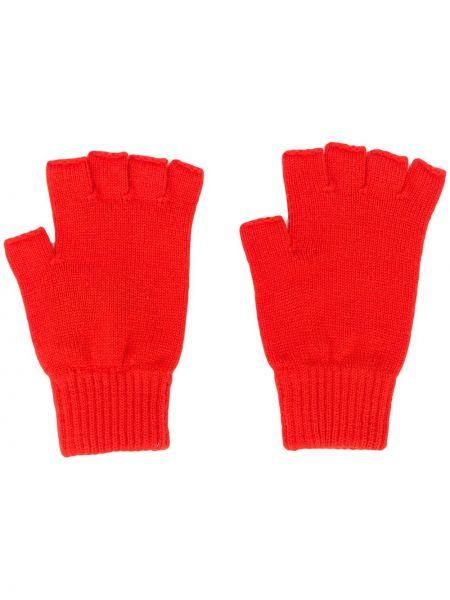 Prążkowane pomarańczowe z kaszmiru rękawiczki bez palców Pringle Of Scotland
