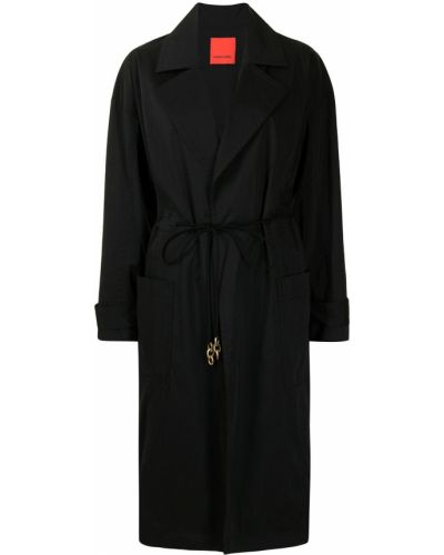 Нейлоновое черное длинное пальто с лацканами Manning Cartell