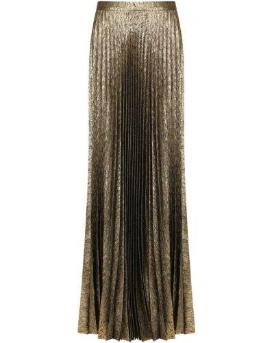 Плиссированная юбка макси шелковая Saint Laurent