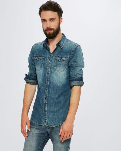 Джинсовая рубашка однотонная хлопковая Guess Jeans