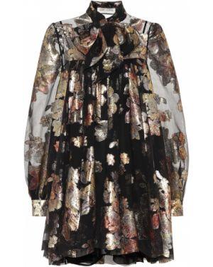 Платье мини шелковое темный Saint Laurent