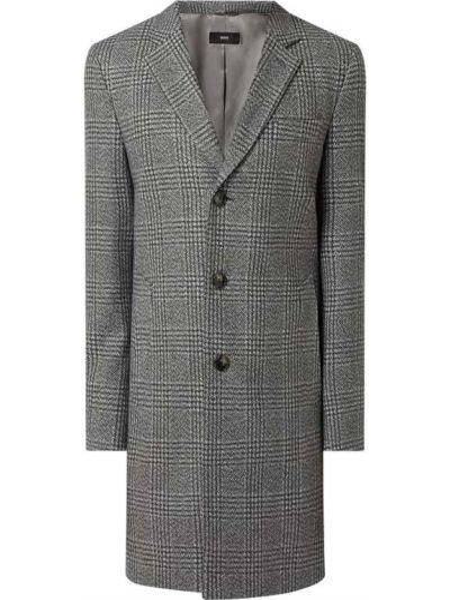 Wełniany płaszcz z kołnierzem z kieszeniami z mankietami Boss