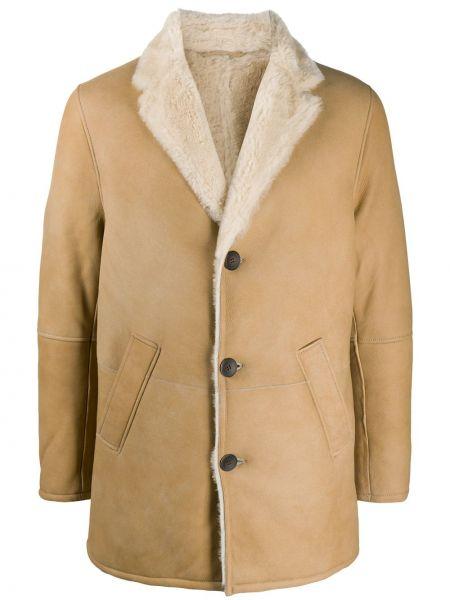 Классическое кожаное пальто классическое на пуговицах с лацканами S.w.o.r.d 6.6.44