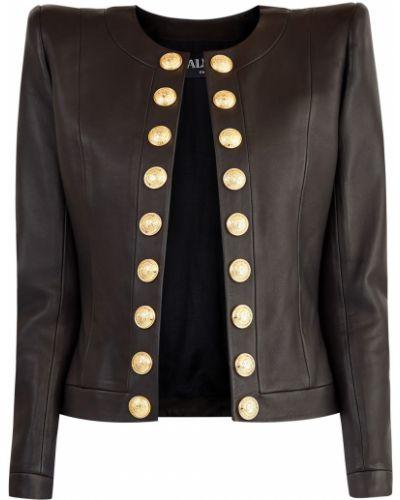 Кожаная куртка в полоску со вставками Balmain