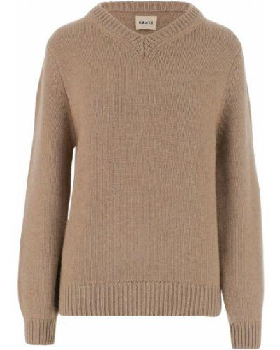 Beżowy sweter z dekoltem w serek Khaite