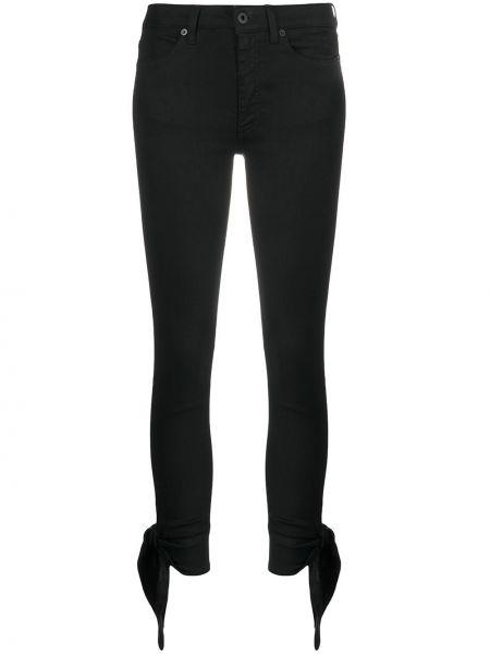 Черные джинсы-скинни с поясом на пуговицах Dondup
