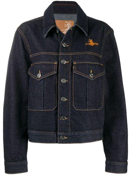 Синяя джинсовая куртка с вышивкой с воротником Vivienne Westwood Anglomania
