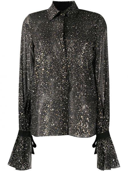 Czarna bluzka z długimi rękawami asymetryczna Galvan