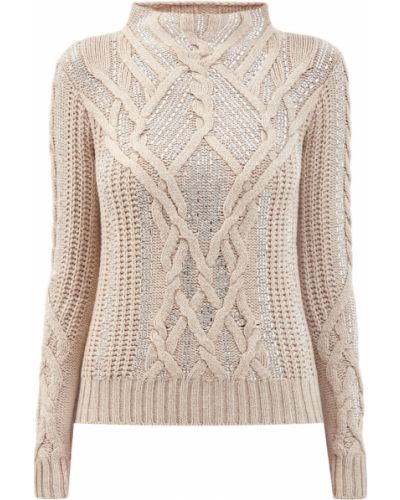 Бежевый кашемировый вязаный пуловер с декоративной отделкой Ermanno Scervino