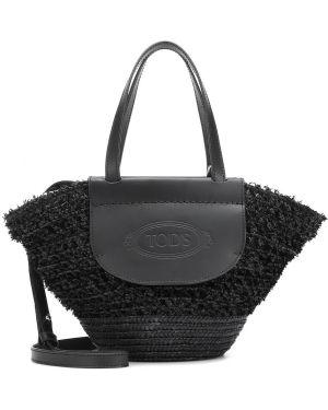 Кожаная сумка шоппер текстильная Tods
