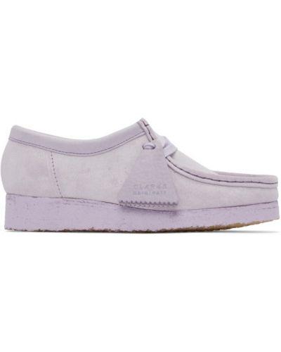Бежевые замшевые мокасины на шнурках Clarks Originals