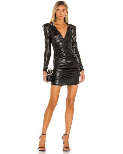 Кожаное черное платье мини с длинными рукавами Nookie