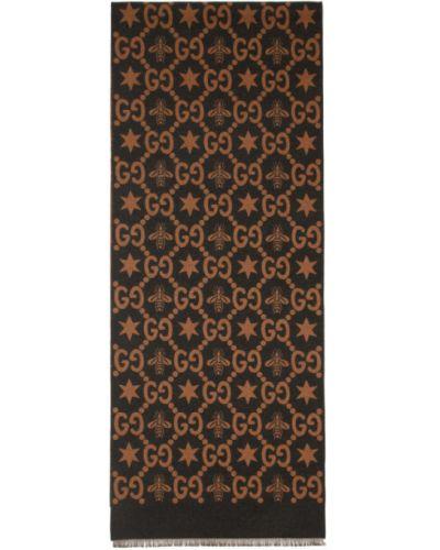 Со звездами коричневый шелковый шарф Gucci