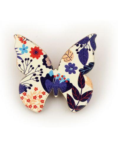 Белый брелок с бабочкой в цветочный принт Orlando