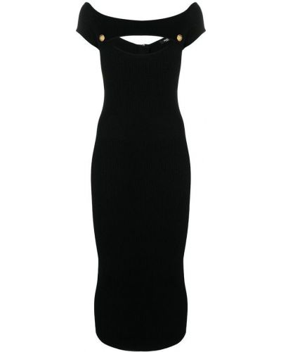 Czarna sukienka midi elegancka bez rękawów Balmain