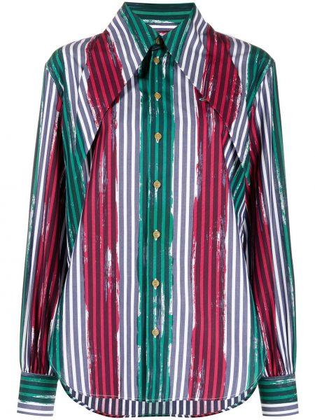 Хлопковая зеленая с рукавами рубашка Vivienne Westwood