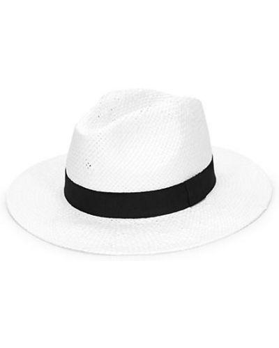 Белые соломенные шляпа-федора Saks Fifth Avenue