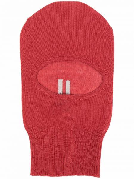 Красная кашемировая балаклава в рубчик Rick Owens