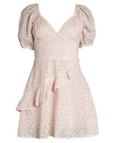 Хлопковое кружевное платье мини с декольте Bcbgeneration