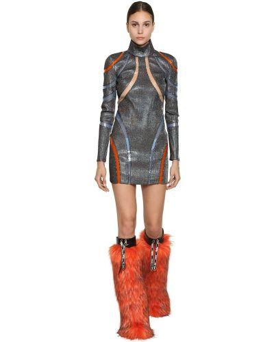 Платье мини с длинными рукавами с люрексом прозрачное Byblos
