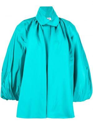 Niebieska koszula ze stójką z jedwabiu Dice Kayek