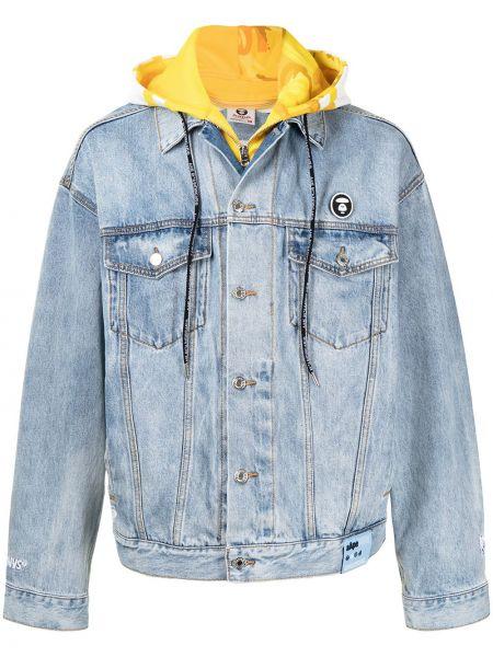 Хлопковая синяя джинсовая куртка с капюшоном Aape By A Bathing Ape