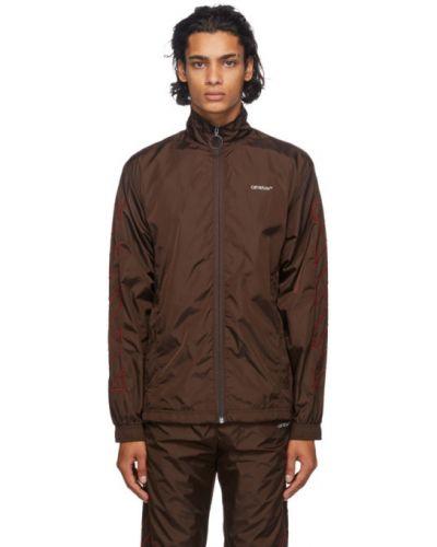 Nylon brązowy długa kurtka z kieszeniami z długimi rękawami Off-white