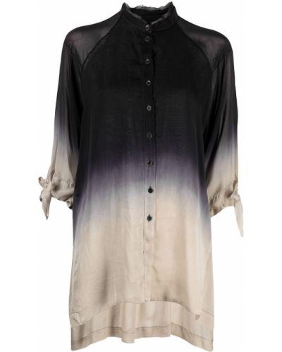 С рукавами шелковая черная блузка Masnada