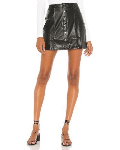 Комбинированная черная кожаная юбка David Lerner