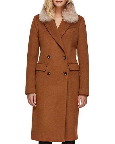 Шерстяное длинное пальто с воротником двубортное Soia & Kyo