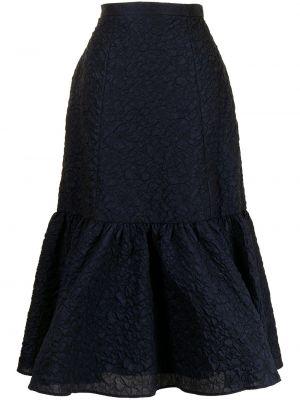 Niebieska spódnica z haftem Erdem