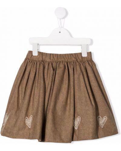 Spódnica z haftem - brązowa Bonpoint
