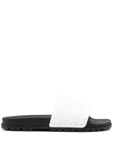 Czarne sandały płaska podeszwa peep toe Emporio Armani