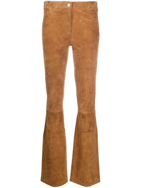 Кожаные коричневые брюки на пуговицах с низкой посадкой Arma